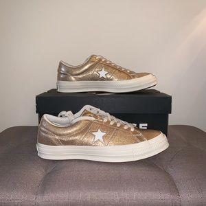 Gold Converse One Star Ox Sneakers